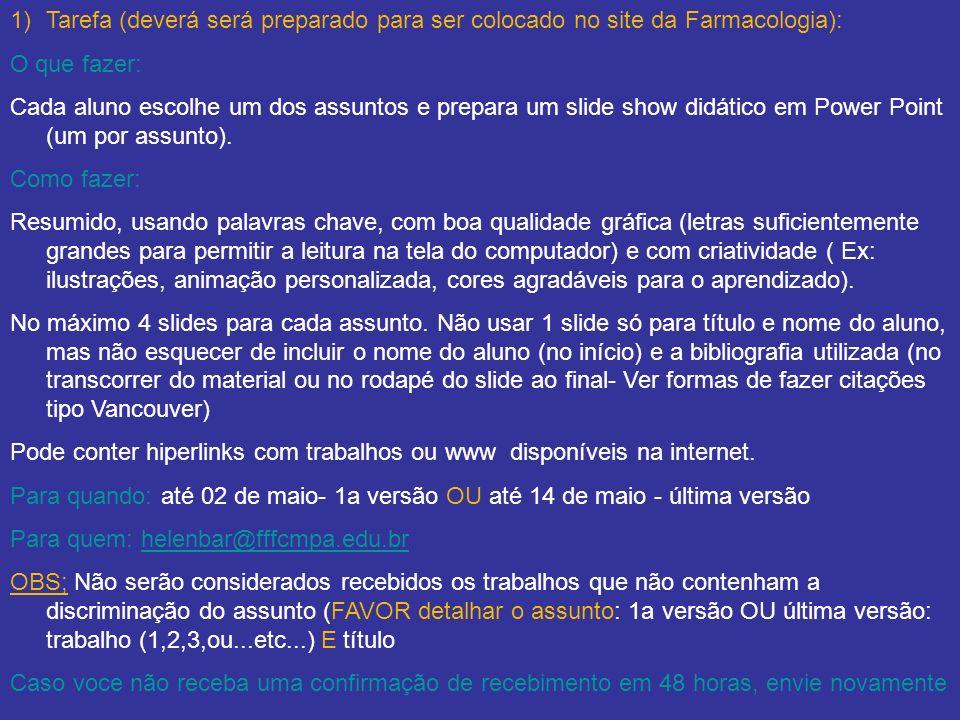 Tarefa (deverá será preparado para ser colocado no site da Farmacologia):
