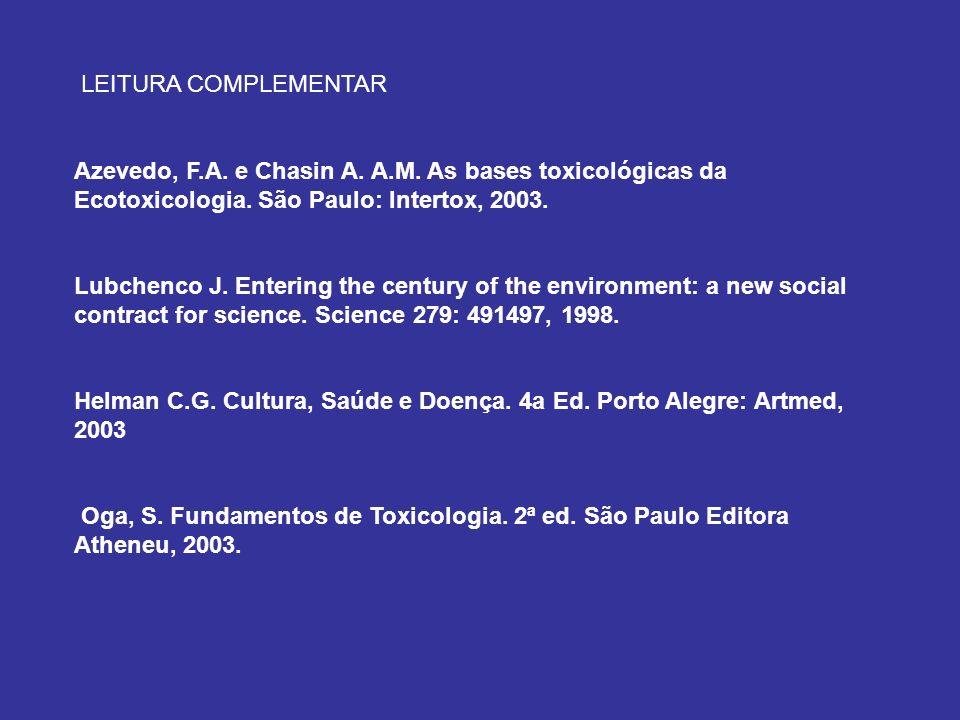 LEITURA COMPLEMENTAR Azevedo, F.A. e Chasin A. A.M. As bases toxicológicas da Ecotoxicologia. São Paulo: Intertox, 2003.