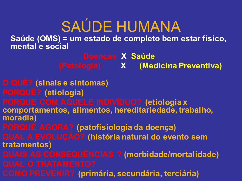 SAÚDE HUMANA Saúde (OMS) = um estado de completo bem estar físico, mental e social. Doenças X Saúde.