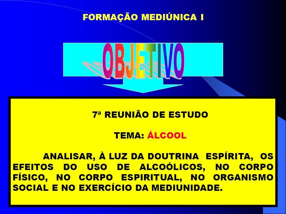 OBJETIVO FORMAÇÃO MEDIÚNICA I 7ª REUNIÃO DE ESTUDO TEMA: ÁLCOOL