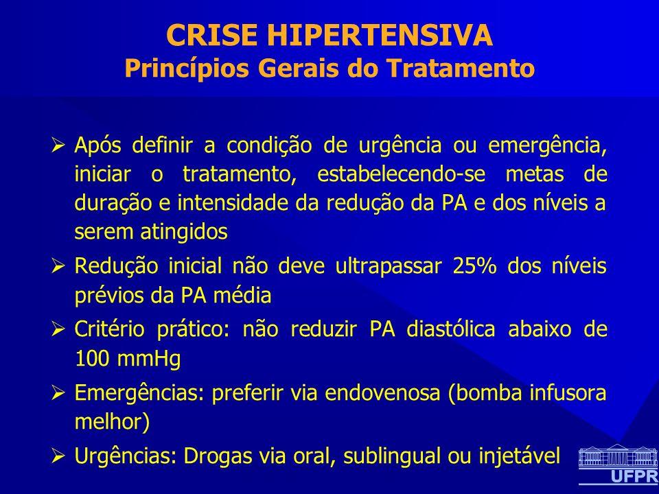 CRISE HIPERTENSIVA Princípios Gerais do Tratamento