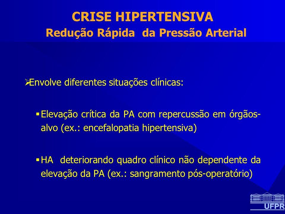 CRISE HIPERTENSIVA Redução Rápida da Pressão Arterial