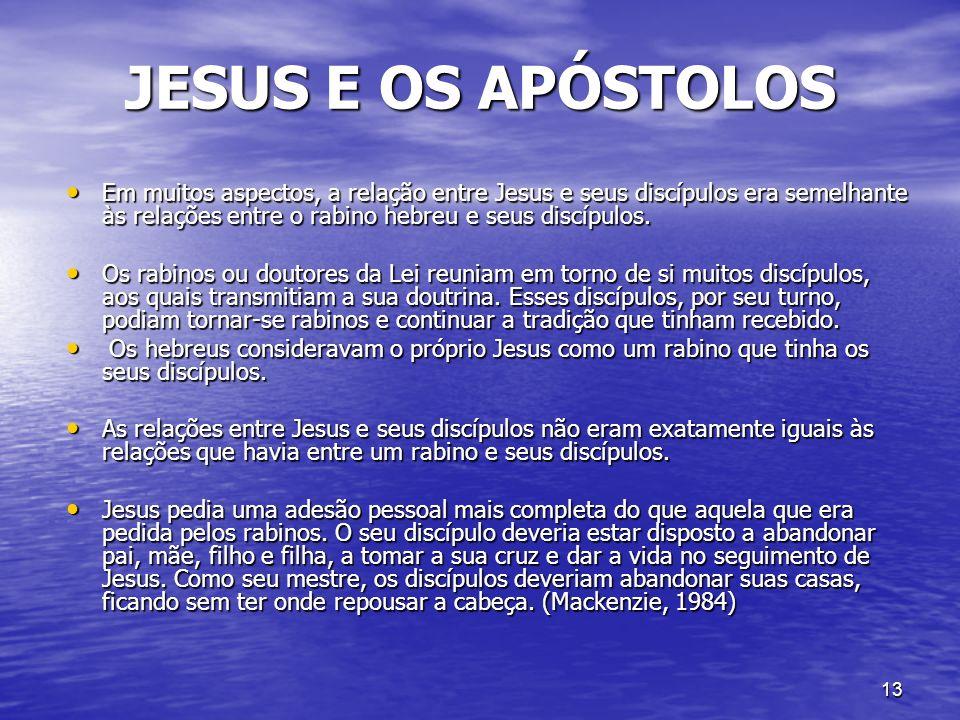 JESUS E OS APÓSTOLOS Em muitos aspectos, a relação entre Jesus e seus discípulos era semelhante às relações entre o rabino hebreu e seus discípulos.