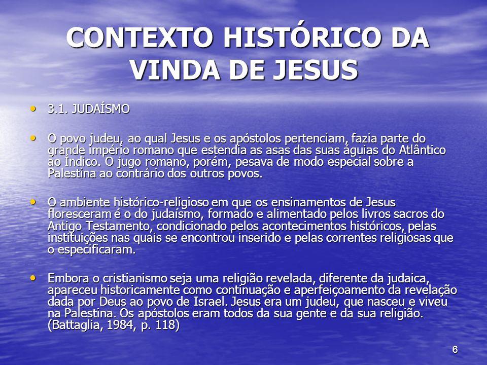 CONTEXTO HISTÓRICO DA VINDA DE JESUS