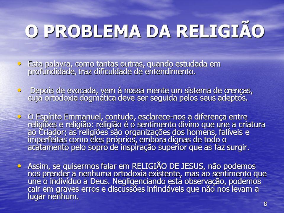 O PROBLEMA DA RELIGIÃO Esta palavra, como tantas outras, quando estudada em profundidade, traz dificuldade de entendimento.