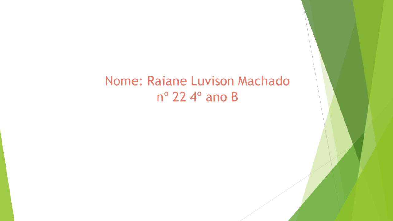 Nome: Raiane Luvison Machado nº 22 4º ano B