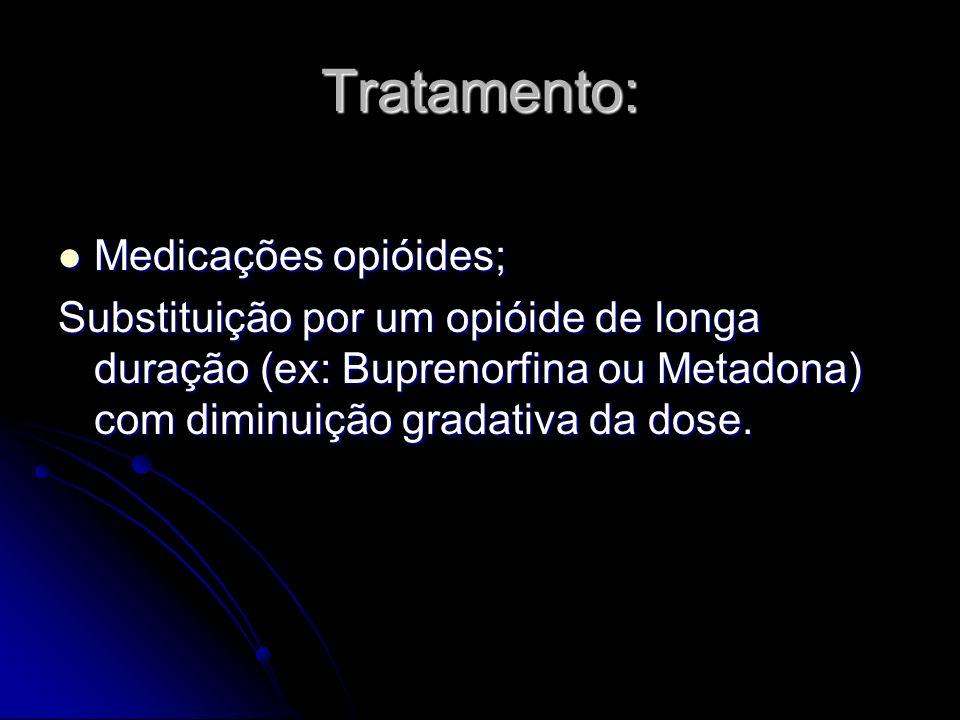 Tratamento: Medicações opióides;