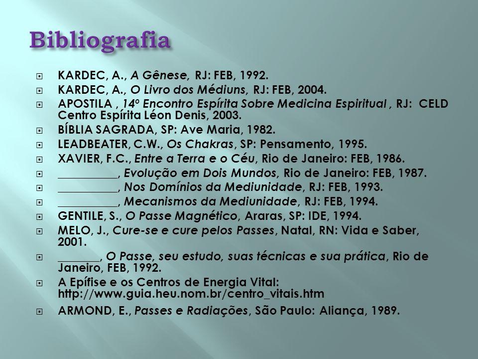 Bibliografia KARDEC, A., A Gênese, RJ: FEB, 1992.