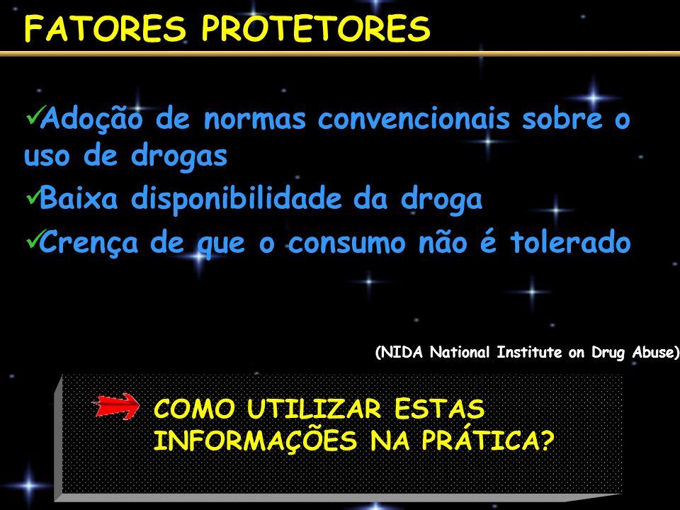 FATORES PROTETORES Adoção de normas convencionais sobre o uso de drogas. Baixa disponibilidade da droga.