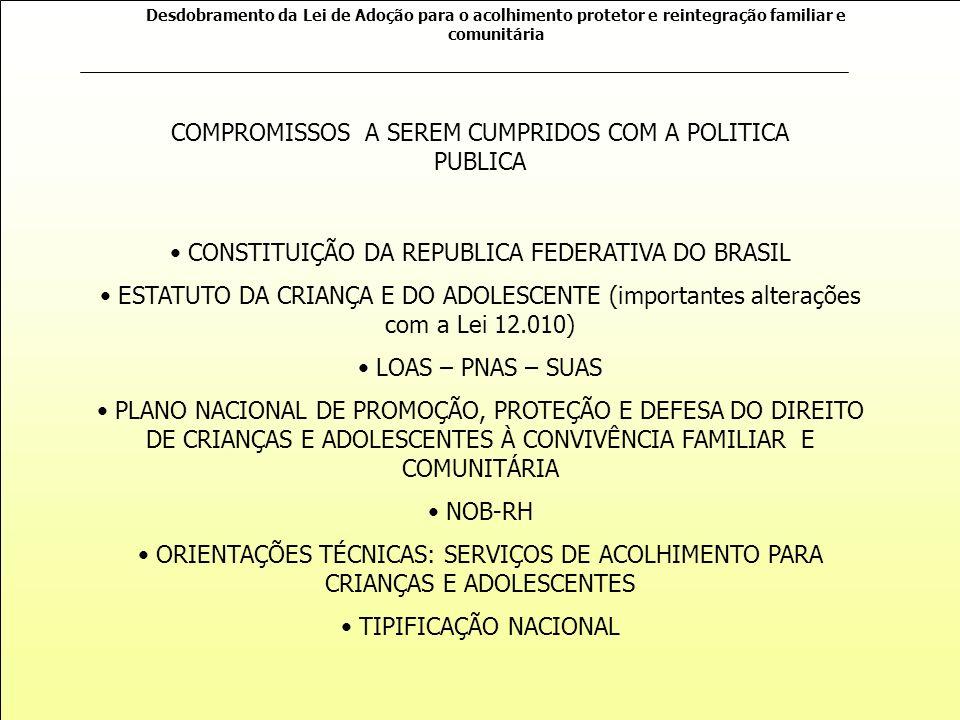 COMPROMISSOS A SEREM CUMPRIDOS COM A POLITICA PUBLICA