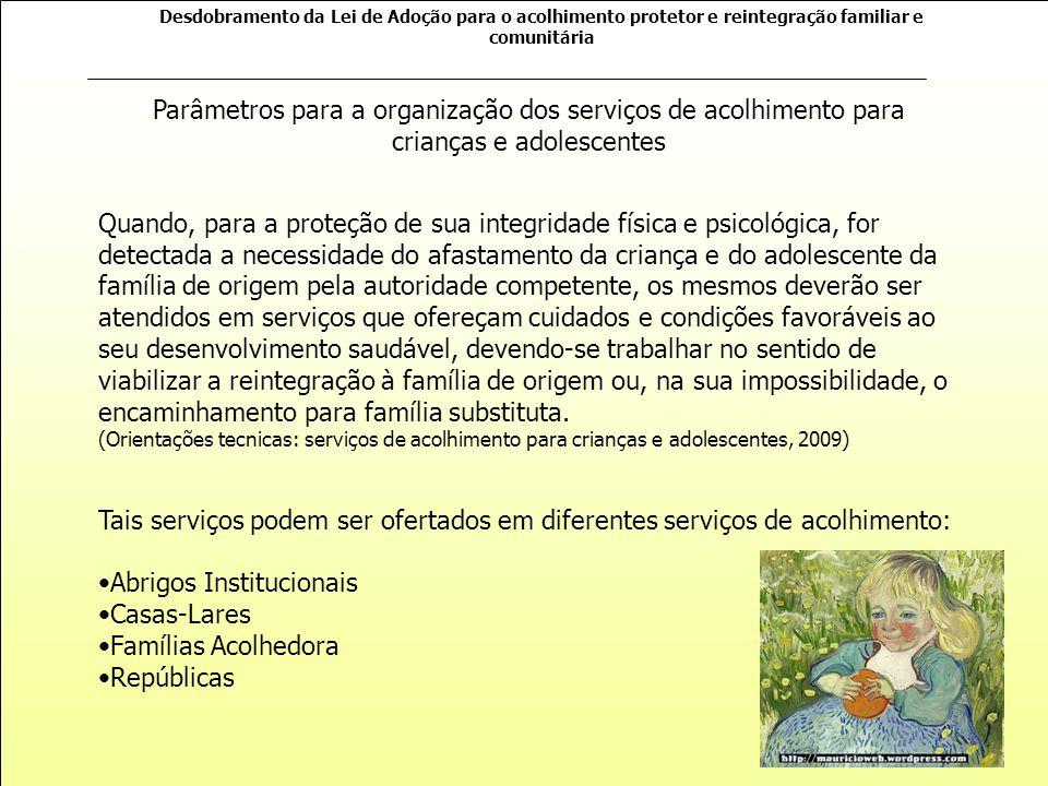 Abrigos Institucionais Casas-Lares Famílias Acolhedora Repúblicas