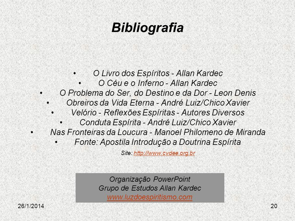 Bibliografia O Livro dos Espíritos - Allan Kardec