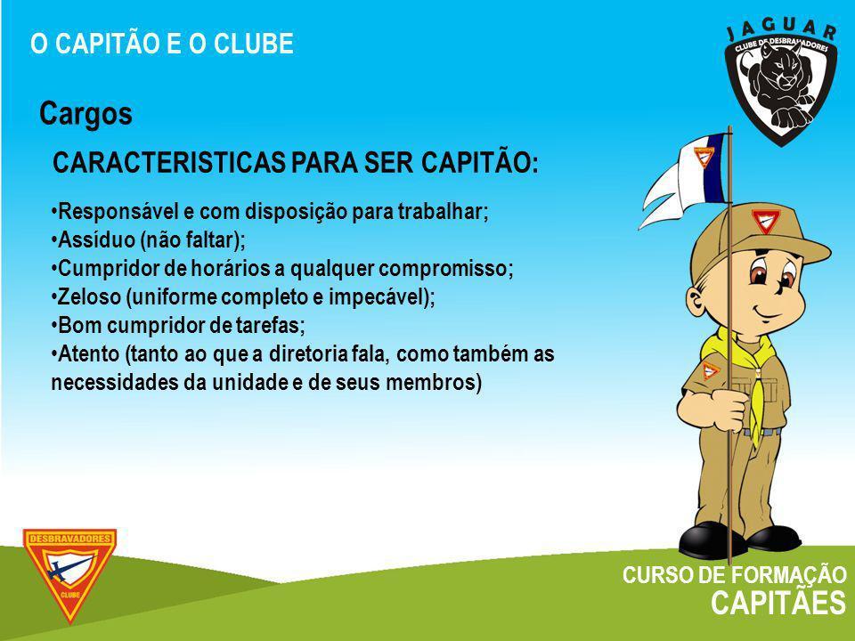Cargos CAPITÃES CARACTERISTICAS PARA SER CAPITÃO: O CAPITÃO E O CLUBE