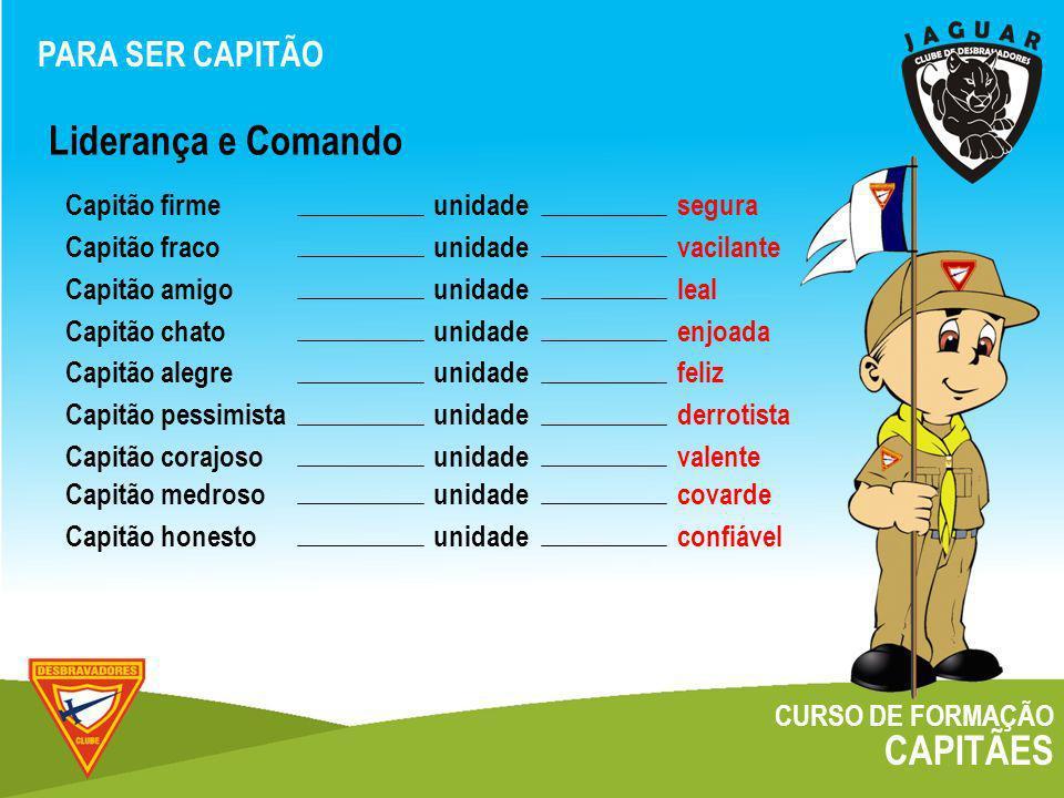 Liderança e Comando CAPITÃES PARA SER CAPITÃO Capitão firme unidade
