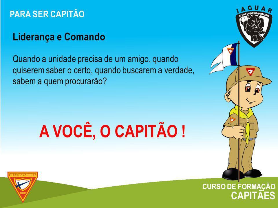 A VOCÊ, O CAPITÃO ! Liderança e Comando CAPITÃES PARA SER CAPITÃO