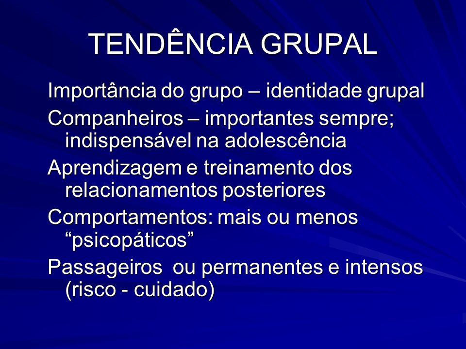 TENDÊNCIA GRUPAL Importância do grupo – identidade grupal