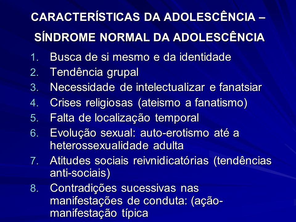 CARACTERÍSTICAS DA ADOLESCÊNCIA – SÍNDROME NORMAL DA ADOLESCÊNCIA