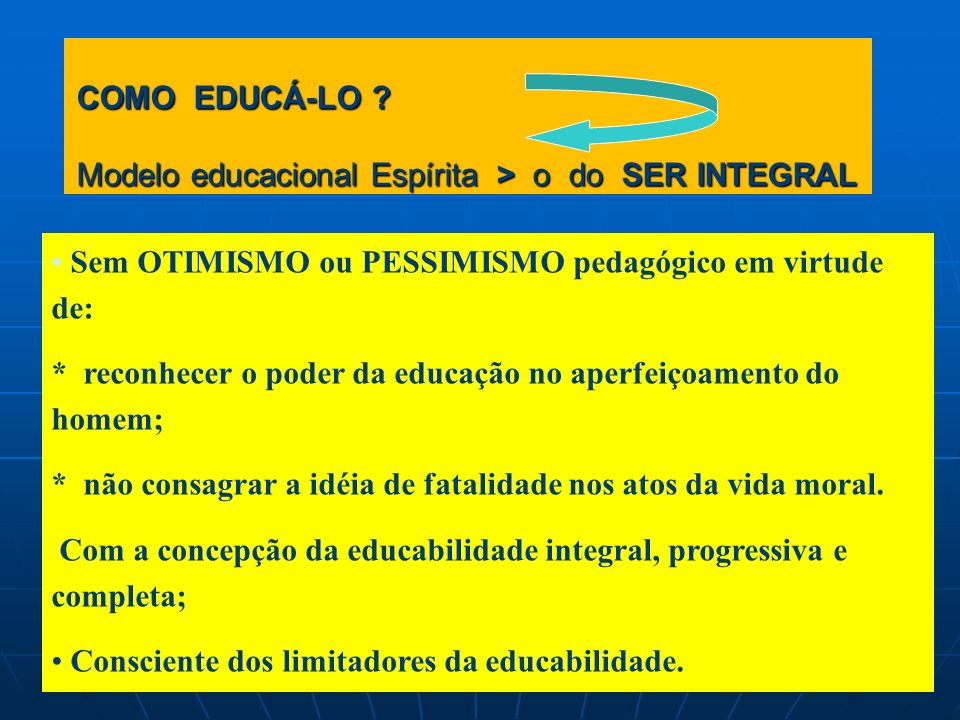 COMO EDUCÁ-LO Modelo educacional Espírita > o do SER INTEGRAL
