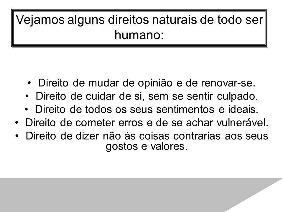 Vejamos alguns direitos naturais de todo ser humano: