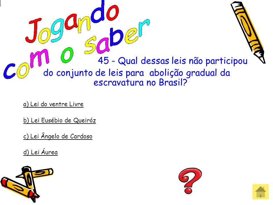 do conjunto de leis para abolição gradual da escravatura no Brasil