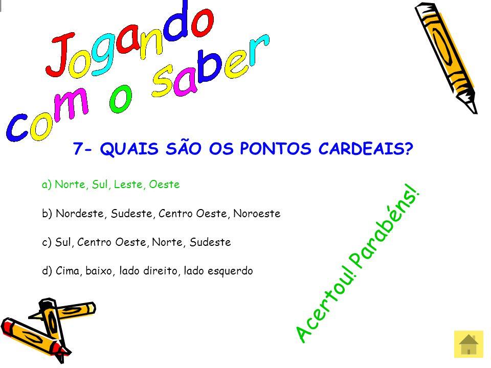 7- QUAIS SÃO OS PONTOS CARDEAIS
