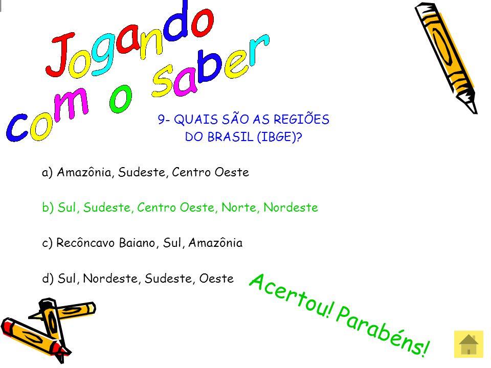 Acertou! Parabéns! 9- QUAIS SÃO AS REGIÕES DO BRASIL (IBGE)