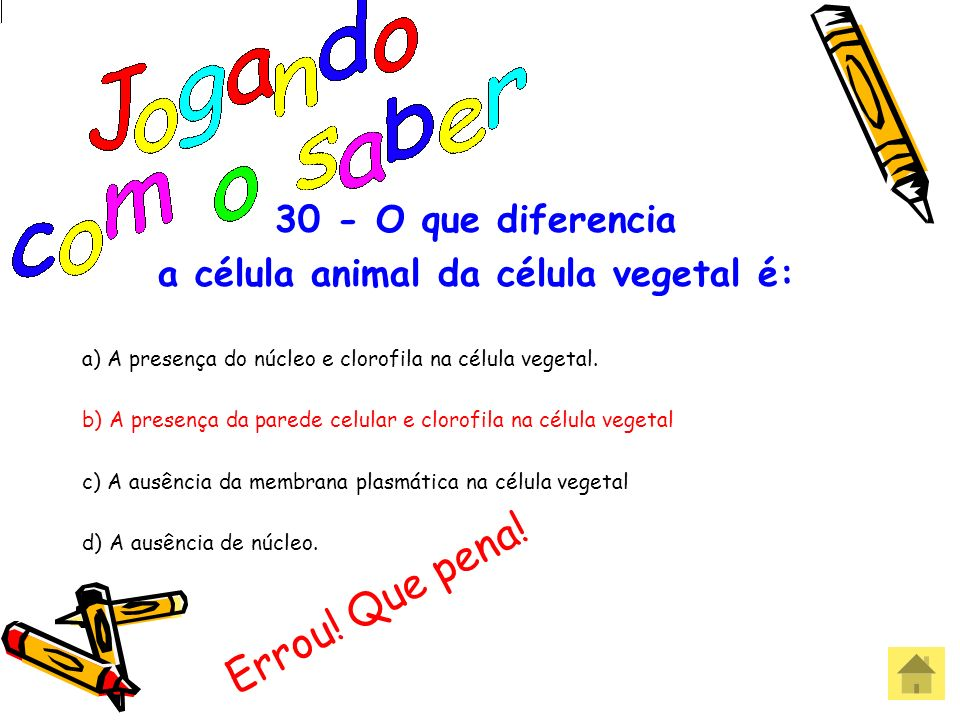 a célula animal da célula vegetal é: