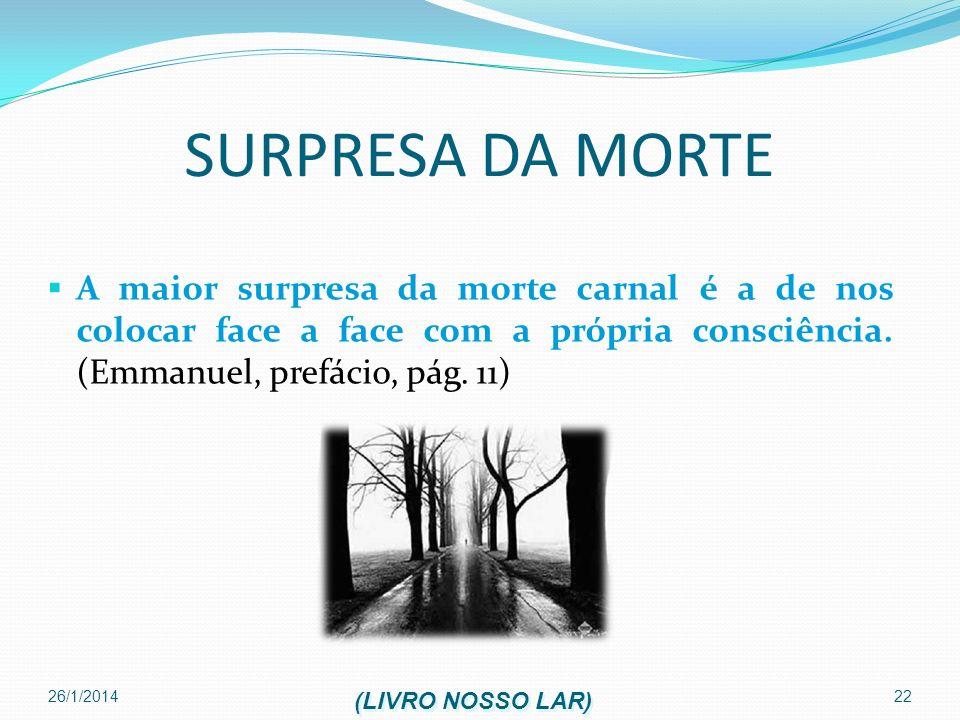SURPRESA DA MORTEA maior surpresa da morte carnal é a de nos colocar face a face com a própria consciência. (Emmanuel, prefácio, pág. 11)
