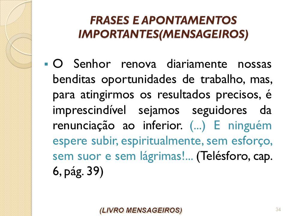 FRASES E APONTAMENTOS IMPORTANTES(MENSAGEIROS)