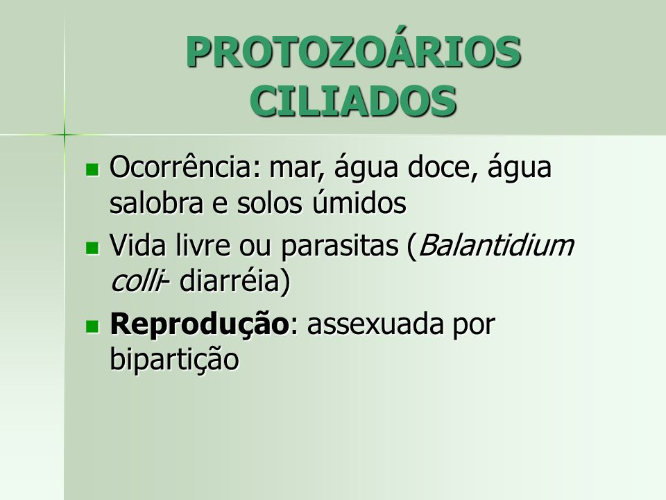 PROTOZOÁRIOS CILIADOS