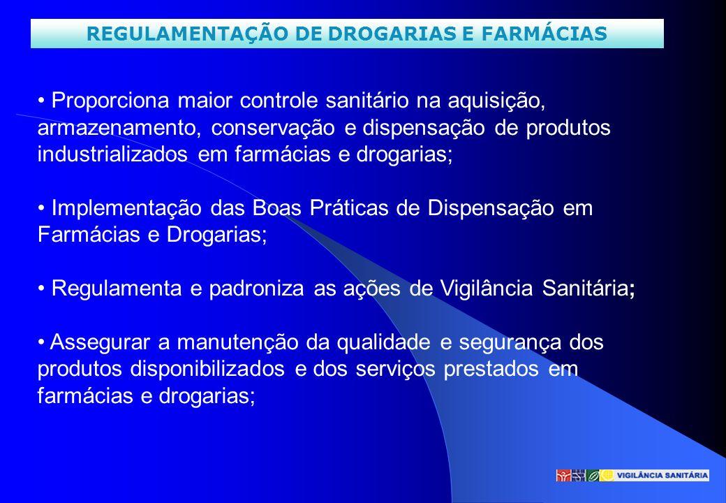 REGULAMENTAÇÃO DE DROGARIAS E FARMÁCIAS