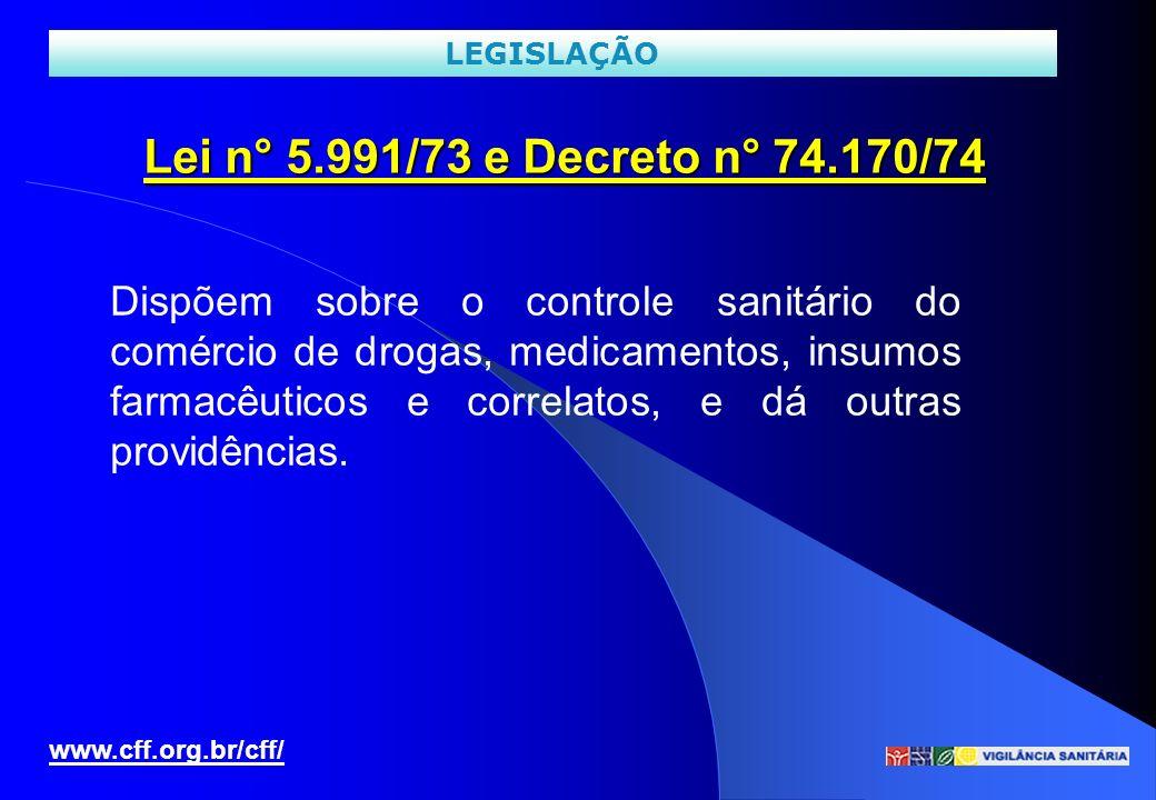 LEGISLAÇÃO Lei n° 5.991/73 e Decreto n° 74.170/74.