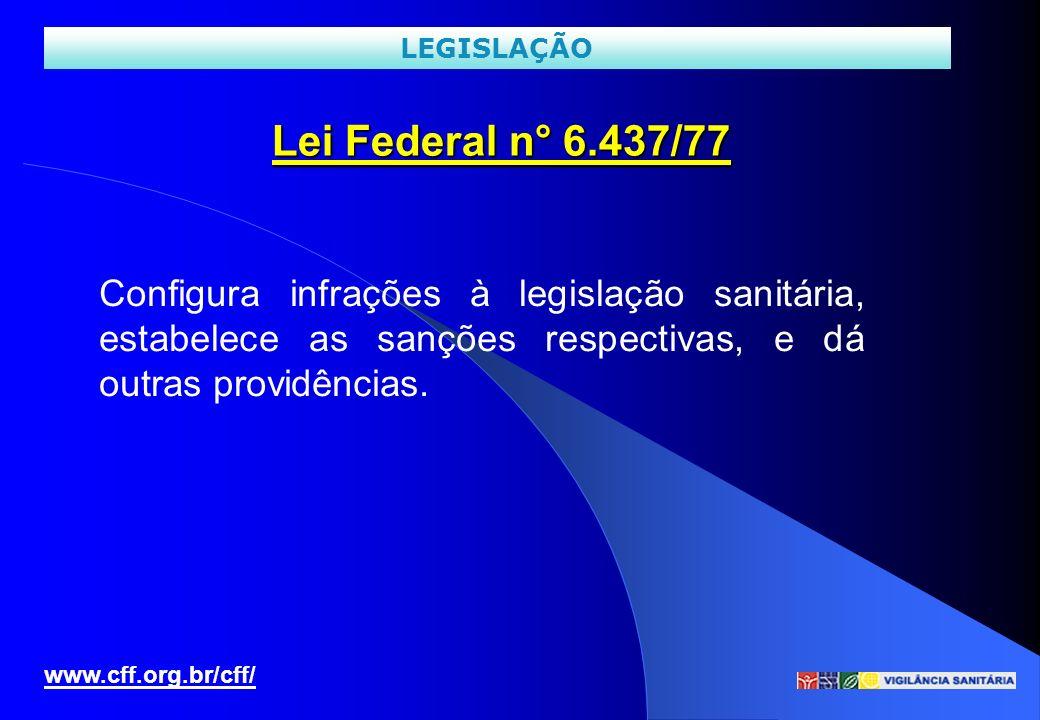 LEGISLAÇÃO Lei Federal n° 6.437/77. Configura infrações à legislação sanitária, estabelece as sanções respectivas, e dá outras providências.