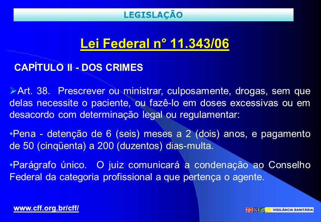 Lei Federal n° 11.343/06 CAPÍTULO II - DOS CRIMES