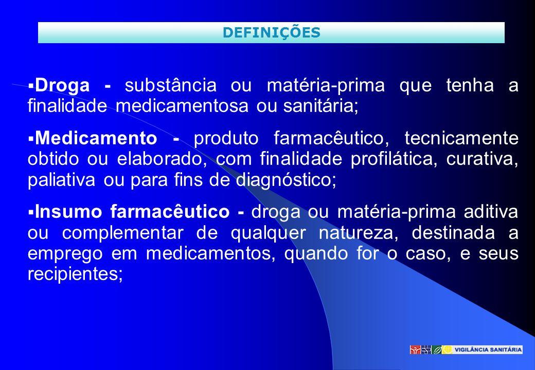 DEFINIÇÕES Droga - substância ou matéria-prima que tenha a finalidade medicamentosa ou sanitária;