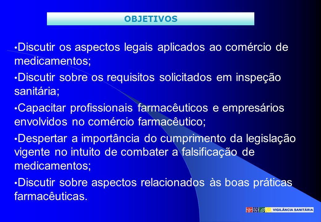 Discutir os aspectos legais aplicados ao comércio de medicamentos;