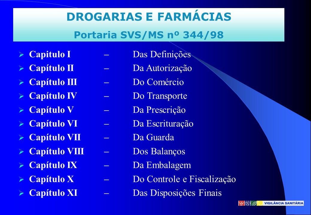 DROGARIAS E FARMÁCIAS Portaria SVS/MS nº 344/98