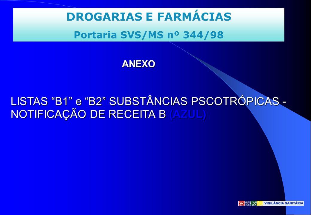 ANEXO LISTAS B1 e B2 SUBSTÂNCIAS PSCOTRÓPICAS - NOTIFICAÇÃO DE RECEITA B (AZUL)