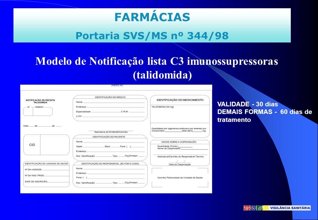 Modelo de Notificação lista C3 imunossupressoras (talidomida)