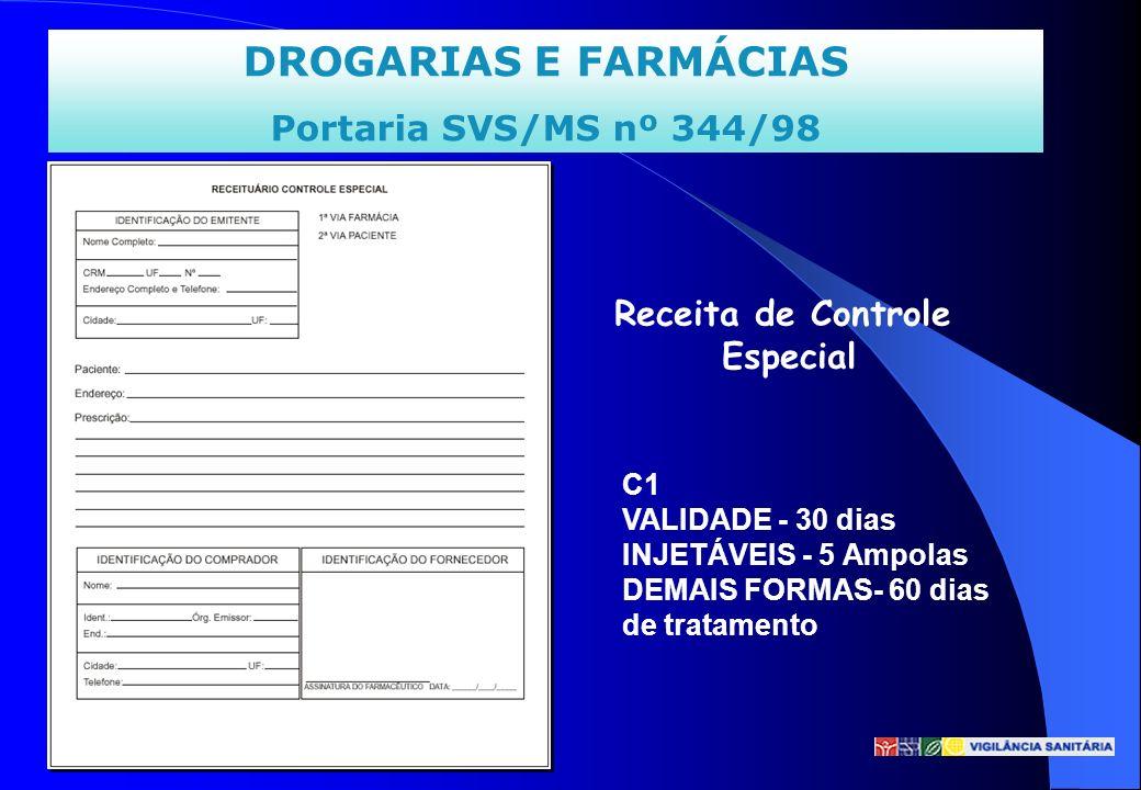 DROGARIAS E FARMÁCIAS Portaria SVS/MS nº 344/98 Receita de Controle