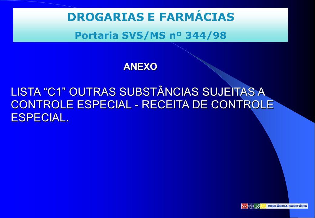 ANEXO LISTA C1 OUTRAS SUBSTÂNCIAS SUJEITAS A CONTROLE ESPECIAL - RECEITA DE CONTROLE ESPECIAL.