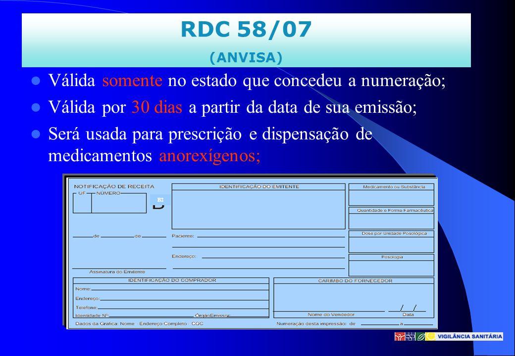 RDC 58/07 Válida somente no estado que concedeu a numeração;