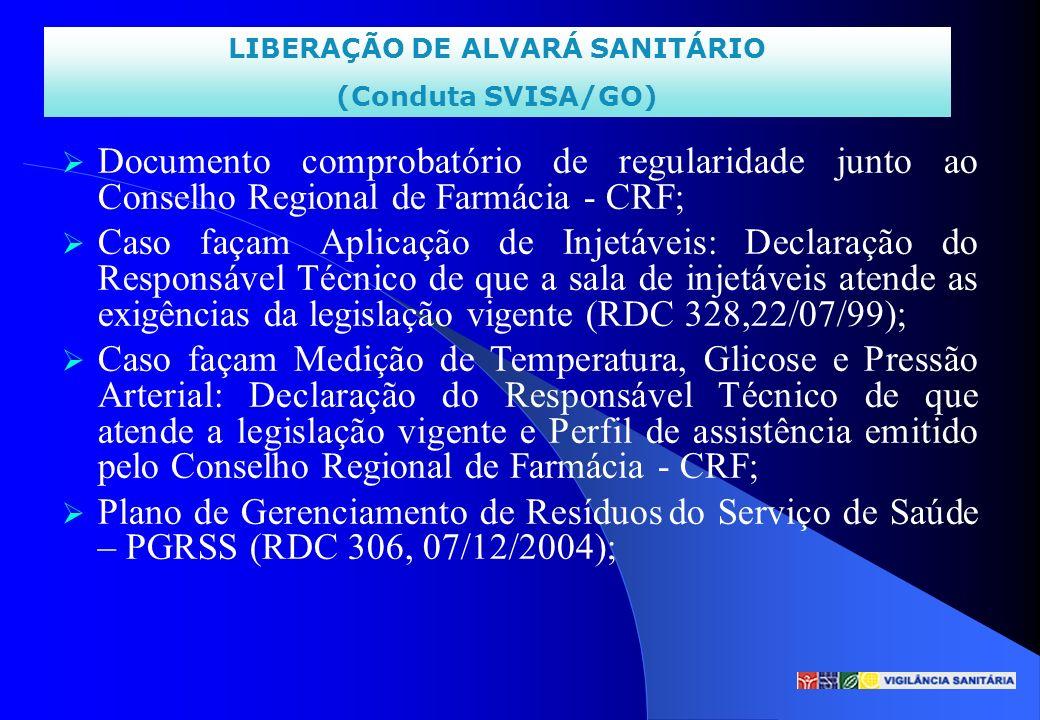 LIBERAÇÃO DE ALVARÁ SANITÁRIO