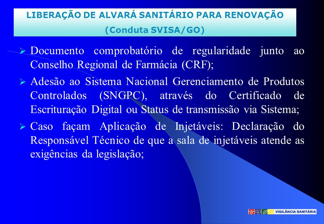 LIBERAÇÃO DE ALVARÁ SANITÁRIO PARA RENOVAÇÃO