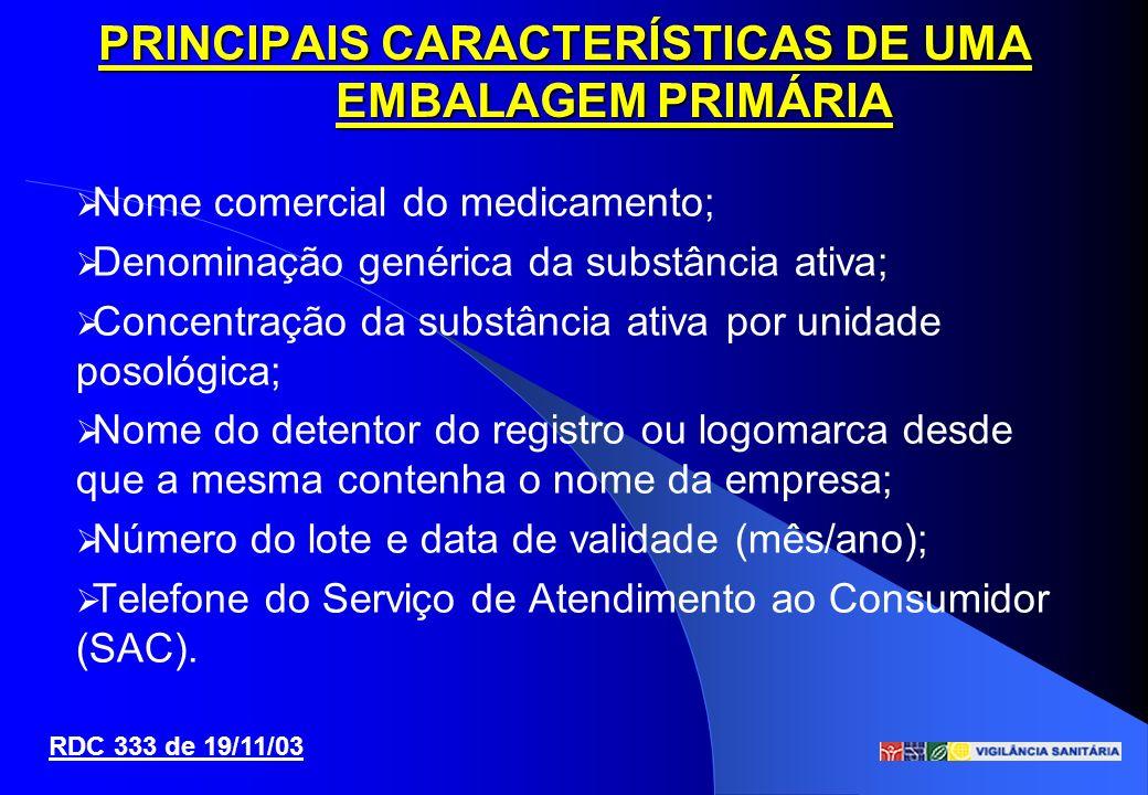 PRINCIPAIS CARACTERÍSTICAS DE UMA EMBALAGEM PRIMÁRIA