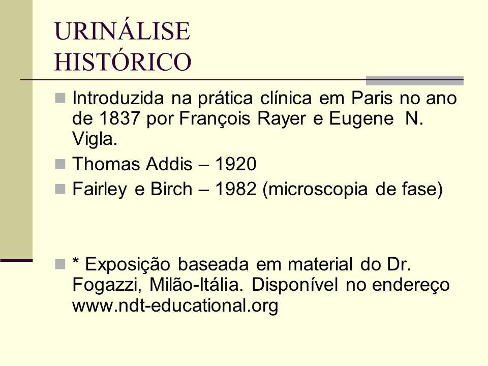 URINÁLISE HISTÓRICO Introduzida na prática clínica em Paris no ano de 1837 por François Rayer e Eugene N. Vigla.