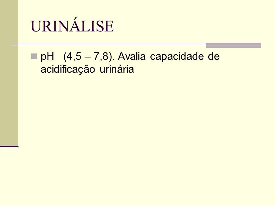 URINÁLISE pH (4,5 – 7,8). Avalia capacidade de acidificação urinária