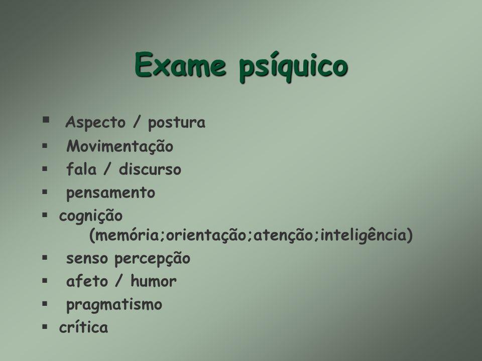 Exame psíquico Aspecto / postura Movimentação fala / discurso