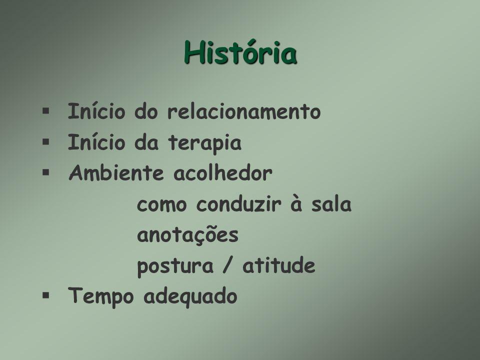 História Início do relacionamento Início da terapia Ambiente acolhedor