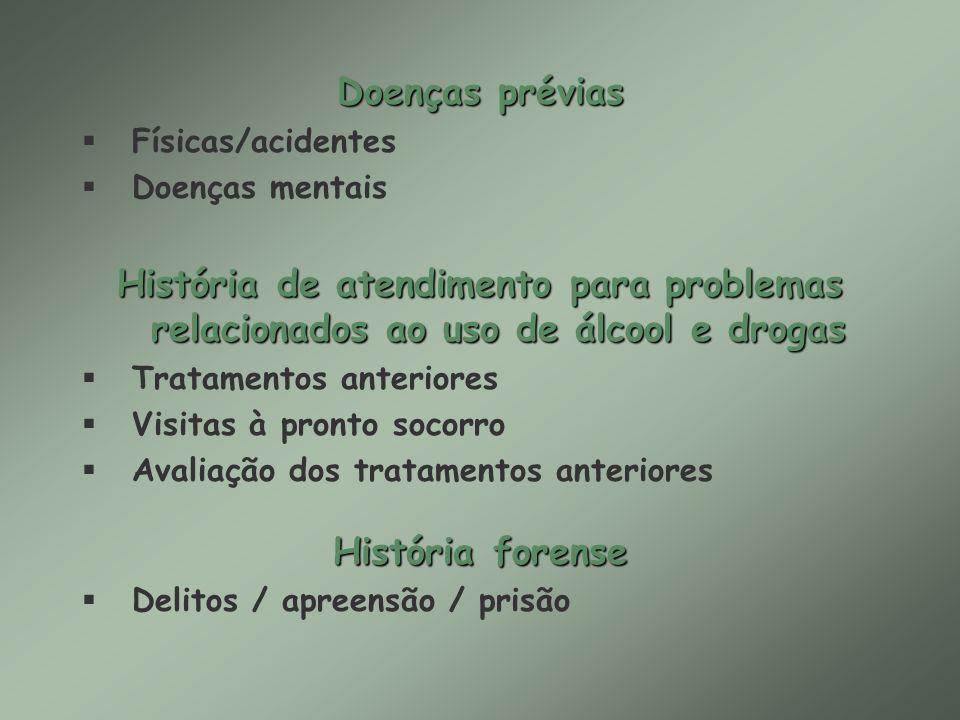 Doenças préviasFísicas/acidentes. Doenças mentais. História de atendimento para problemas relacionados ao uso de álcool e drogas.